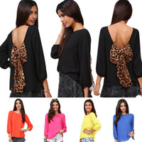 Wholesale Puff Sleeved Blouse - Fashion Sexy Women's Backless Chiffon Blouse with Leopard Bowknot Puff-Sleeved Chiffon Blouson Tops S M L XL XXL 0711