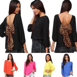 Wholesale Leopard Blouse Fashion - Fashion Sexy Women's Backless Chiffon Blouse with Leopard Bowknot Puff-Sleeved Chiffon Blouson Tops S M L XL XXL 0711