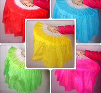 Wholesale Belly Dance Veil Green - 76cm long Belly Dance Imitation silk veil Fan Dancing Veil fan Dance costume Accessory Belt Costume 985