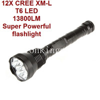 Wholesale 12x Cree Led Flashlight - 13800lm Super Powerful 12x CREE T6 LED Flashlight Torch-black CREE LED flashlight