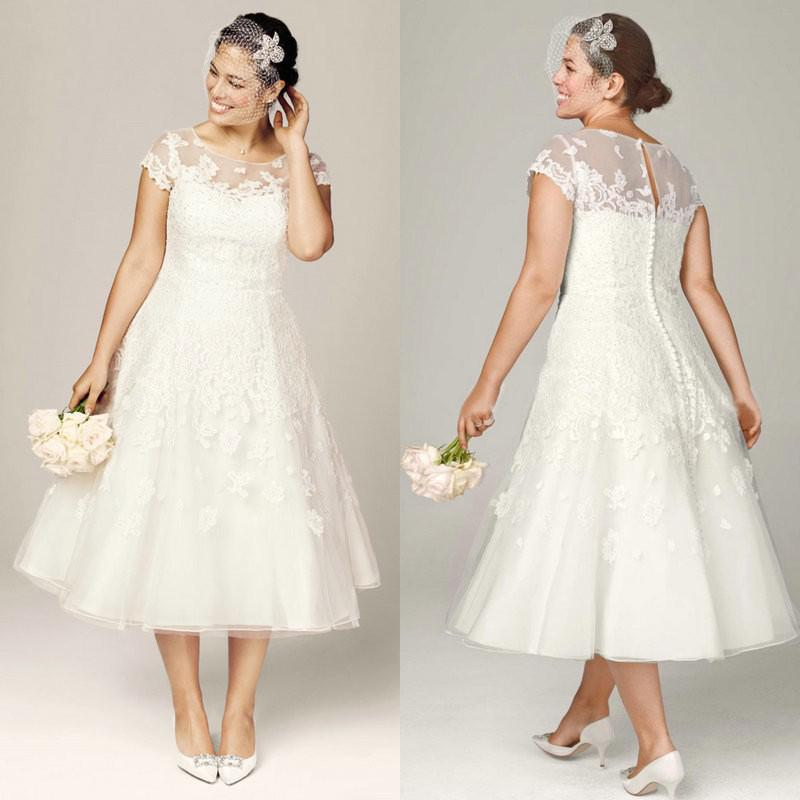 Discount Plus Size Wedding Dresses Tea Length Bridal Gowns