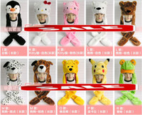 Wholesale mitten scarf - Cartoon animal hat scarf gloves fluffy plush hooded party long hats caps scarf beanie winter fur earmuff mitten XMAS COSPLAY perform props