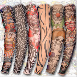 Wholesale Cheap Arm Tattoos - Free Shipping Many Styles Stretchy Fake Art Tattoo Sleeve Arms Fancy Dress Costume Fashion Tattoo Cuff Cheap Wholesale