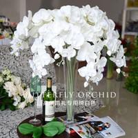 искусственные декоративные орхидеи оптовых-Поддельные цветы орхидеи 10 шт./лот Фаленопсис орхидеи бабочка поддельные моли орхидеи для свадьбы декоративные искусственные цветы