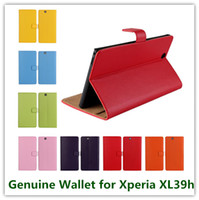xperia z wallet fällen großhandel-11Colors Fashion Echtes Leder Klappständer Brieftasche Rückendeckel für Sony Xperia Z Ultra XL39h Hochwertige Handytaschen Kostenlos