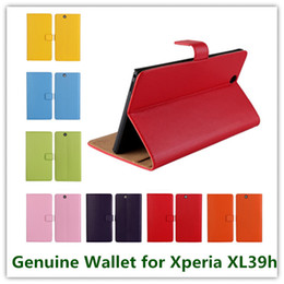 Wholesale Wallet Case For Xperia Z - 11Colors Fashion Genuine Leather Folding Stand Wallet Back Cover for Sony Xperia Z Ultra XL39h High Quality Cellphone Cases Free