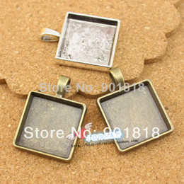Wholesale Trays For Glasses - (20mm for glass size) 10pcs lot antique Blank Pendant Trays,Blanks Pendant Bases, Pendant Settings F636