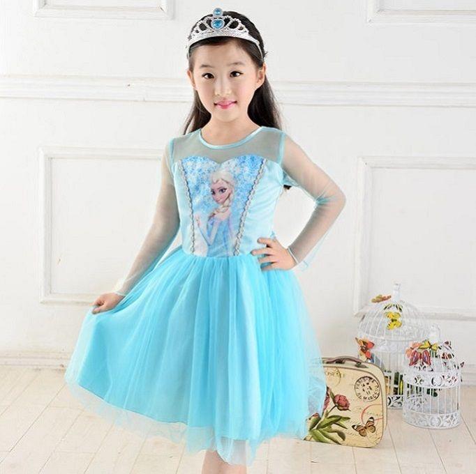 441d9df64 Wholesale - Frozen Princess Anna Elsa Sofia sleeve lace Dress Children  Gauze Baby Girl Party Tutu