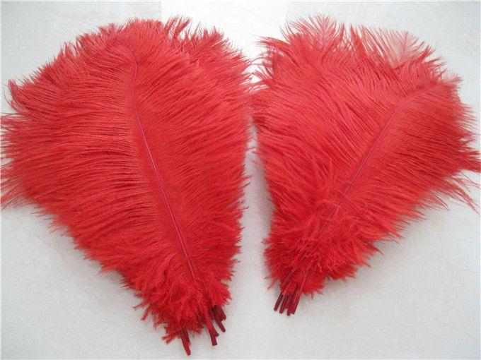 Groothandel 100 stks / partij 14-16inch 35-40cm Rode struisvogelveren Plumes voor bruiloft centerpieces Home Party Supply Decor