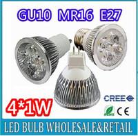 Wholesale Dimmable E27 Led 4x1w - High power CREE 4W 4x1W Dimmable GU10 MR16 E27 E14 GU5.3 Led Light Lamp Spotlight led bulb Free shipping
