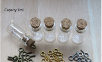 Wholesale Ship Bottle Charm - Free Shipping - 50 lot 1ML Mini Charm Glass Bottle Pendant,Small Glass Bottle With Eye Hook, Small Cork Glass Vial