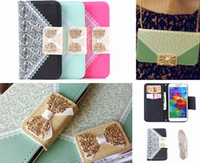Wholesale Iphone 4s Flip Bling Cover - Luxury Lace Bling Buckle Wallet Leather Flip Case Cover Pouch With Card Slots for iPhone 4 4S 5 5S 5C Samsung S3 S4 S5 Note 2 3