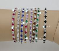Wholesale tennis bracelets online - Hot IN STOCK Colorful Spring Row Rhinestone Bracelet Tennis Color z305