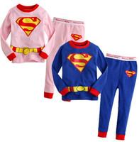 Wholesale Cotton Pjs Wholesale - Wholesale-2014 WINTER Children pyjamas boy long sleeve cotton pyjamas Superman Cartoon sleepwear homewear Pjs blue color 6p l