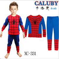 spiderman pyjama - WINTER Children pyjamas boy long sleeve cotton pyjamas SpiderMan Cartoon sleepwear homewear Pjs blue color p l