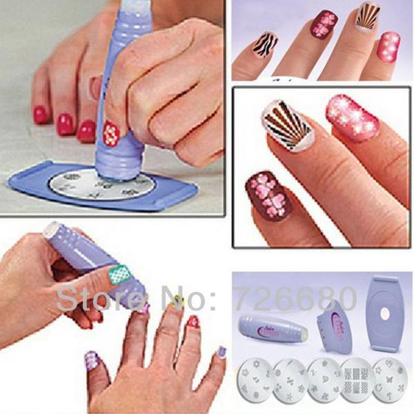 Livraison en gros gratuite! Nouveau DIY Design Kit Professionnel Nail Art Express Stickers Tampon Estampage Vernis À Ongles Décoration Outils 302-0105407