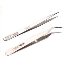 Wholesale Stainless Curved Tweezers - Wholesale-Stainless Steel Makeup Eyelash Nail Art Rhinestones Extension Straight & Curved Tweezers Tool Set407