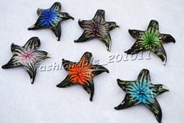Pingentes de vidro murano on-line-Animal Starfish Multi-Color Lampwork Murano Pingentes De Vidro Flor Em Colares Atacado Varejo LIVRE # pdt66