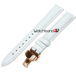 Wholesale 18mm Rose Gold Watch Band - Wholesale-Rose Gold Push Button Deployment Clasp Croco Grain Leather Watch Band Strap WH ,16mm,18mm,20mm,22mm,24mm407