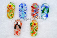 Wholesale Wholesale Murano Art Glass - Art shoes Multi-Color Lampwork Murano Glass Pendants Necklaces Wholesale Retail FREE #pdt67