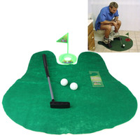 Wholesale Bathroom Golf Game - Funny Toilet Bathroom Mini Golf Mat balls Set Potty Putter Putting Game Novelty H10294