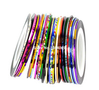 Wholesale Color Tape Rolls - Wholesale-30 Mix Color Rolls Striping Tape Metallic Yarn Line Nail Art Decoration Sticker Free Shipping 4964407