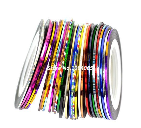 Vente en gros-30 Mix Color Rolls Striping Tape Metallic Yarn Line Nail Art Décoration Sticker Livraison gratuite 4964407