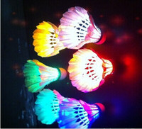 Wholesale Led Badminton Shuttlecock Birdies - 4 pcs DOZEN LED Shuttlecock Badminton Glow Birdies Manufacturers supply top sale free shipping