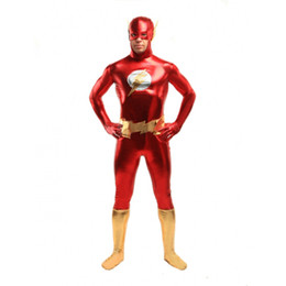 Oro zentai online-Disfraz de Superhéroe Flash en color rojo y dorado Disfraz de Halloween en Cosplay Party Zentai