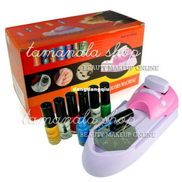 Wholesale Nail Polish Printing - Wholesale-Nail Art Colors Printing Machine Polish DIY Stamper Kit Free shipping407