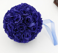 bolas de flores para decoraciones de boda al por mayor-CALIENTE ! 10 piezas Royal Blue 5 pulgadas Rose Flower Kissing Ball Boda Flores Decoración