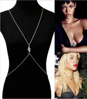 Wholesale Neck Belly Body Chain - 2014 Brand NEW Rihanna Fashion Gold Chain Snake Neck to Waist Body Necklace Free Shipping[GE10021*1]