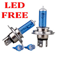 Wholesale Automobile Led Lamps - Automobiles Motorcycle Headlight H4 Halogen lamp 12V 100W SUPER WHITE light car headlamps Halogen bulbs - send 1 pair LED lamp for FREE