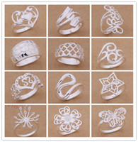 Wholesale Silver Christmas Rings - Mixed Order 24pcs lot 925 silver plated rings fashion jewelry party style Top quality Christmas gift free shipping