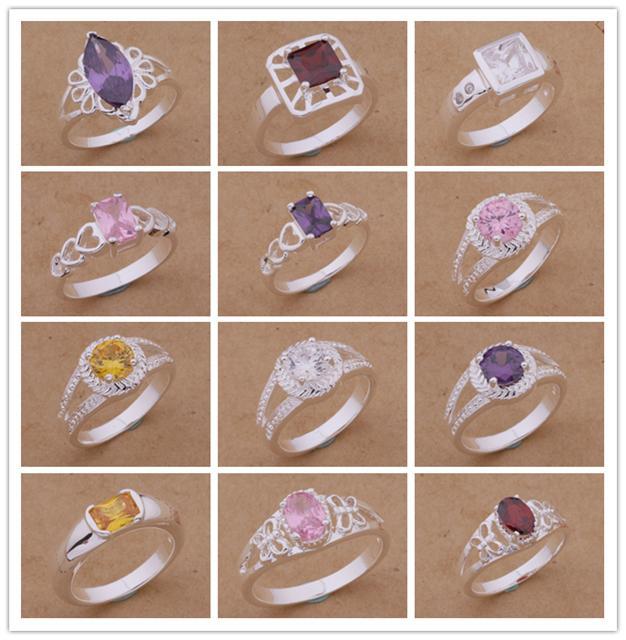 Blandade beställningar Toppkvalitet 925 Silverpläterad Ring med Zircon Crystal Fashion Smycken Pretty Cute Wedding / Engagement Gift Gratis frakt