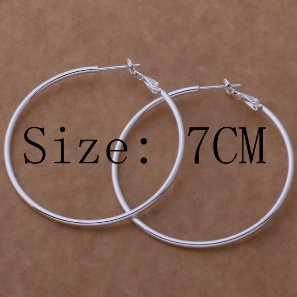 Высокое качество стерлингового серебра 925 Хооп серьги большой диаметр 5-8 см мода партии ювелирные изделия довольно милый Рождественский подарок бесплатная доставка