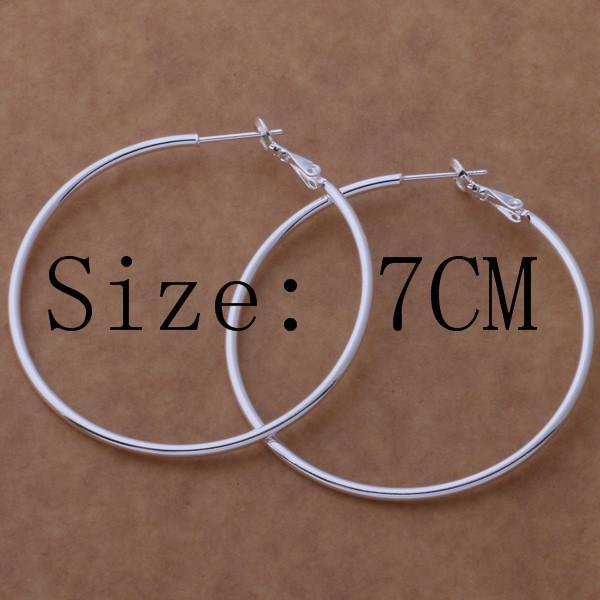 Orecchini d'argento sterlina di alta qualità 925 orecchini a cerchio di grande diametro 5-8cm monili del partito di modo carino carino regalo di Natale spedizione gratuita