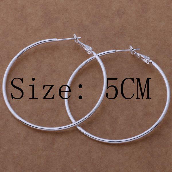 جودة عالية 925 الفضة الاسترليني الأقراط طارة كبيرة قطرها 5-8CM الأزياء حزب مجوهرات جميلة لطيف هدية عيد الميلاد شحن مجاني