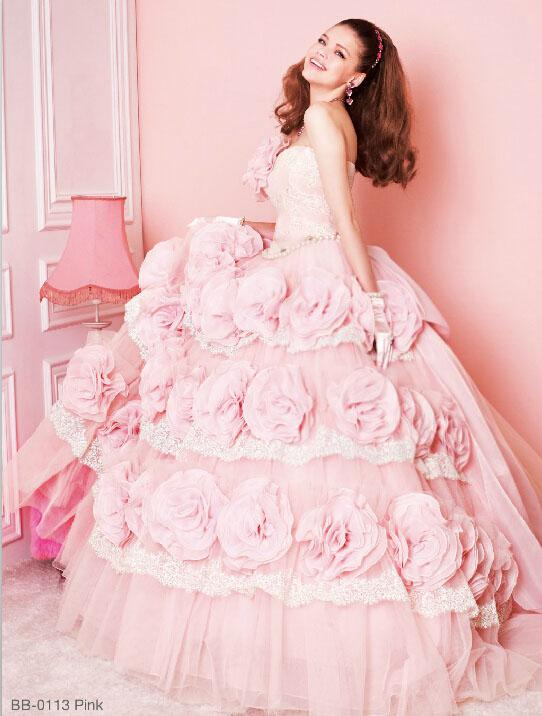 Lovely cinderella barbie pink ball gowns wedding dresses for Wedding party dress up