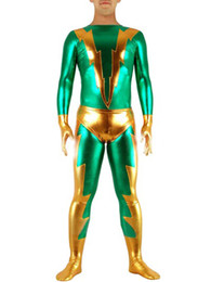 Costume De Super-héros Pvc Pas Cher-Green Gold Shiny Metallic Superhero Costume Halloween Cosplay Party Zentai Suit CSC230546