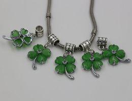Wholesale Lucky Leaf Clover Bracelets - Hot ! 20pcs Green Opal Copper 4 Four Leaf Clover Lucky Dangle Charm Bead for European Bracelets 34 x 16 mm (Z210)