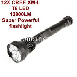 Wholesale 12x Cree Flashlight - SKU700 13800lm Super Powerful 12x CREE T6 LED Flashlight Torch-black
