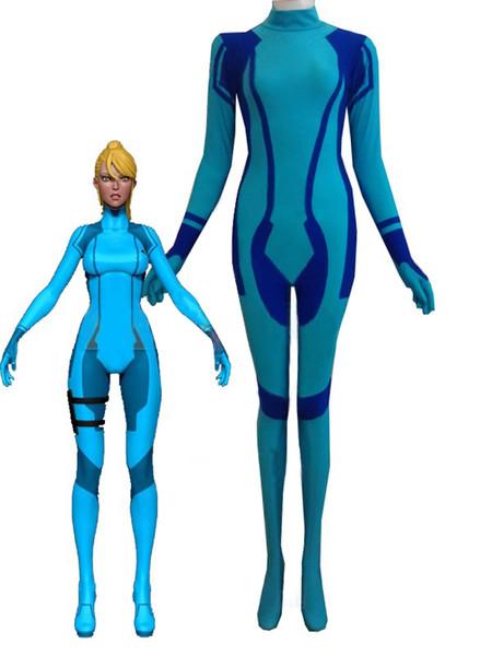Metroid Zero Mission Samus Aran Superhero Costume Halloween Cosplay Party Zentai Suit