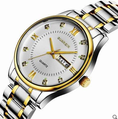남자 럭셔리 비즈니스 GUANQIN 쿼츠 스틸 듀얼 캘린더 Noctilucous 남자 손목 시계 + 박스 시계 GQ80156