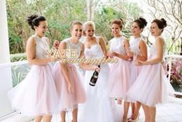 Wholesale Net Tulle Bridesmaid Dresses - New Design ! Lace And Tulle Net A-line Bateau Mini 2014 Free Shipping Beach Bridesmaid Dresses Wedding Maid Of Honor Vestidos