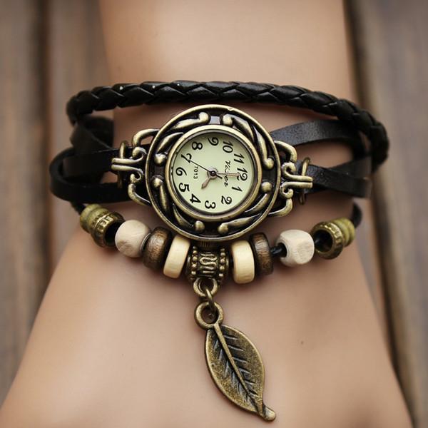 Yeni Gelenler Hakiki Deri El Örgü Vintage Saatler, bilezik Saatı Yaprak Kolye Baykuş Dekorasyon Ücretsiz kargo