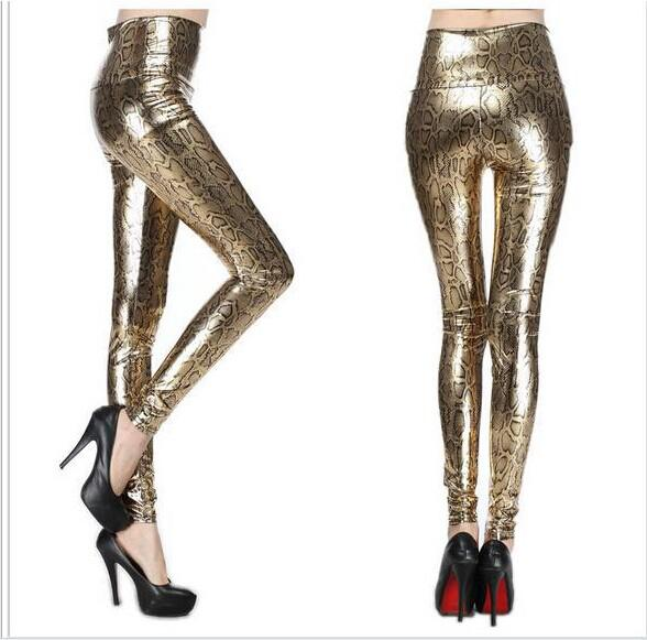 Retail New Fashion Gold Sexy Elastic Imitated Leather Snake Print Leggings Waisted Skinny Pants Tight Pants