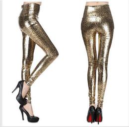 snake print leggings 2019 - Retail New Fashion Gold Sexy Elastic Imitated Leather Snake Print Leggings Waisted Skinny Pants Tight Pants Free Shippin
