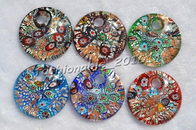 Round millefiori murano Glass Multi-Color Lampwork Murano Glass Pendant necklaces #pdt106