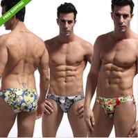 Wholesale Cool Swimwear Bikinis - Men's Sportswear zebra print Swimming Trunks Beachwear Bikini low rise Swimsuit Swimwear Cool Skull Printed Briefs